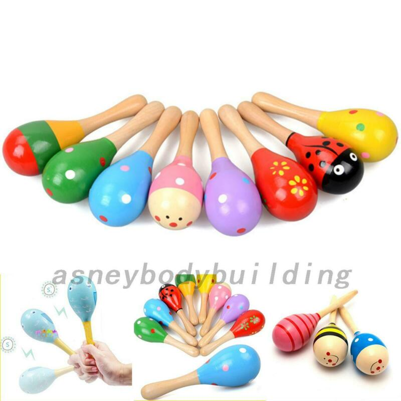 5ps Kids Wooden Ball Toys Baby Rattles Sand Hammer Musical Toy Instrument Sound