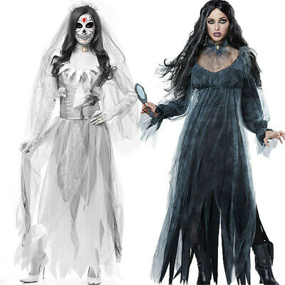 Bloody Mary Halloween Dress (Ladies Bloody Mary Legend Ghost Costume Halloween Horror Scary Dress)