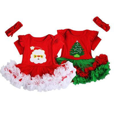 Christmas Santa Romper Xmas Tree Bodysuit Dress Costume 2pcs Set for Baby - Santa Dress For Toddler Girl