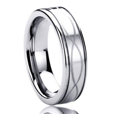 Wedding Mens Womens Ring - 6MM Titanium Mens Womens Rings Infinity Patterned Comfort Fit Wedding Bands