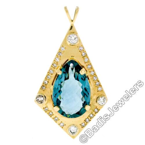 Large 14k Yellow Gold Tear Drop London Blue Topaz & Round Diamond Kite Pendant