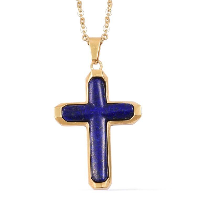 "Lapis Lazuli Cross Religious Chain Pendant Necklace for Women 20"" Goldtone Ct 5"