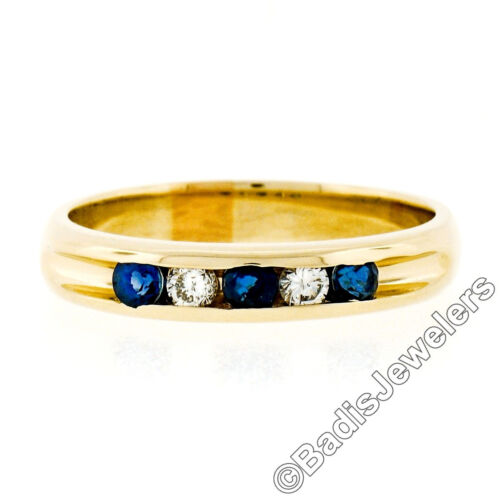 14k Yellow Gold 0.33ctw Round Brilliant Channel Set Sapphire & Diamond Band Ring