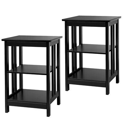 Set of 2 3-Layer Side Table Nightstand End Table W/ Baffles & Round Corner Black Round Set Side Table