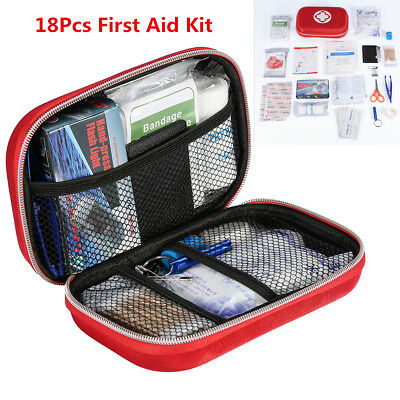 18  Car Home Outdoor First Aid Kit Medical Emergency Survival Bag Red Waterproof