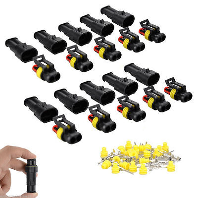 10 Kits 1 2 3 Pin Way Sealed Waterproof Electrical Wire Connector Plug Car Auto