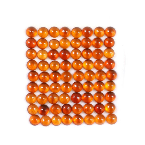 72 Pcs 5mm Natural Hessonite Garnet Top Quality Sparkling Orange Gemstones Lot