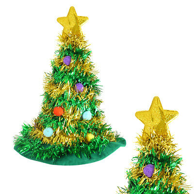 Adults Christmas Tree Hat With Star Mens Ladies Christmas Tinsel Fancy - Christmas Star Kostüm