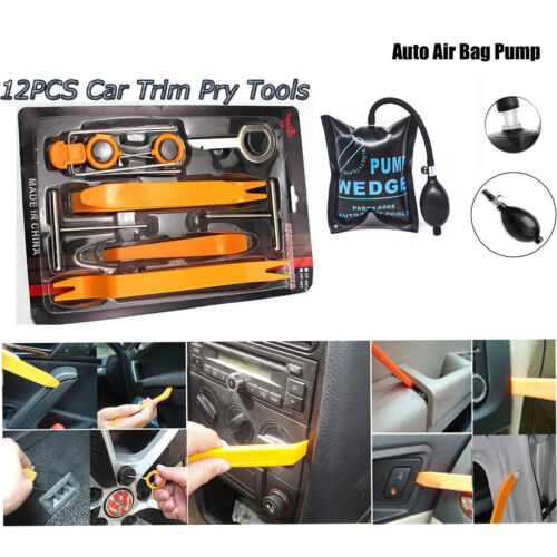12pc Car Panel Dash Removal Open Pry Tools Door Pump Wedge AirBag Lock Entry Set