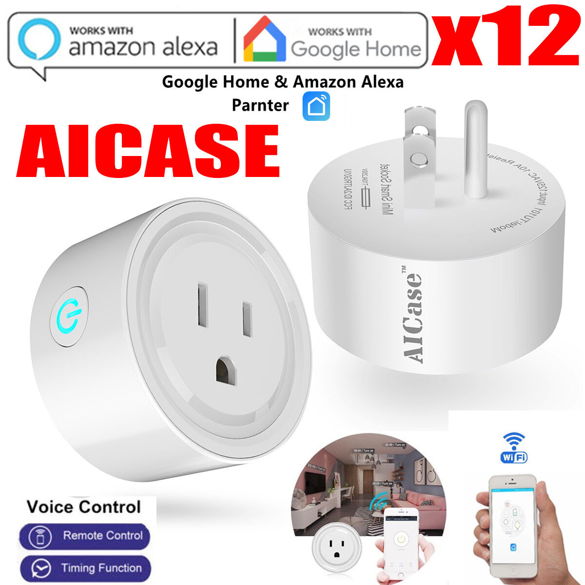 12X US Plug Smart Wifi Switch Socket Remote Control Timer Outlet for Google Home