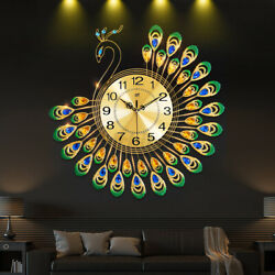 Luxury Peacock Large Wall Clock 20 Alloy Living Room Wall Watch Home Decor Gift