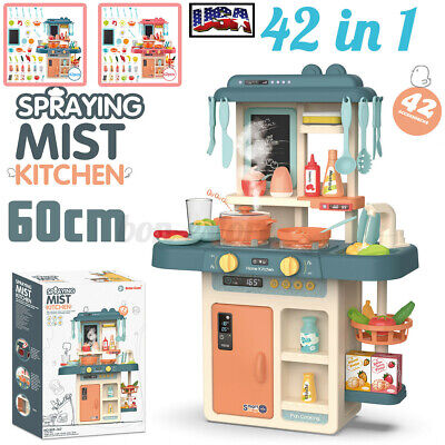 42PCS Kitchen Playset Pretend Play Toy Cooking Toddler Kids Light Sound Effect