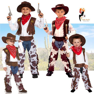 Kids Cowboy Fancy Dress Costume Outfit Boys Child Book Week Party Wear Dress up