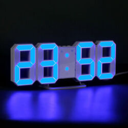 BU LED 3D Wall Desk Clock Temperature Snooze Alarm Big Digits Home Office Decor