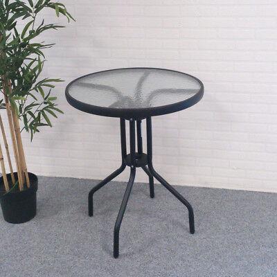 Bistrotisch Glasplatte Ø60cm rund Gartentisch anthrazit Balkontisch