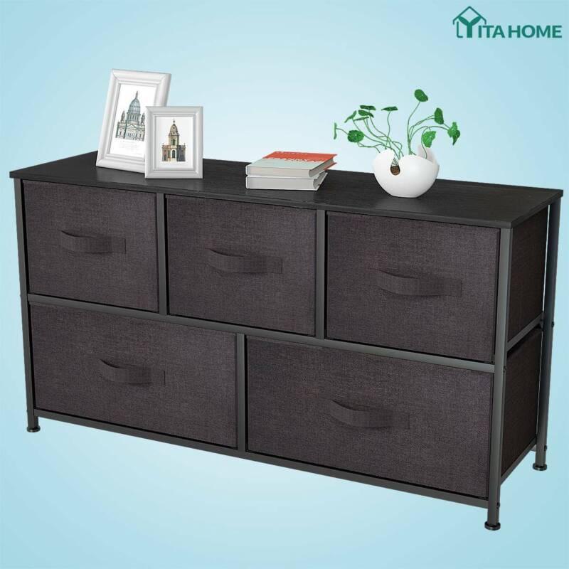 YITAHOME 5 Drawers Dresser Bedroom Brown Shelf Organizer Che