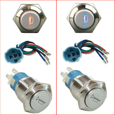 12V Socket Plug+LED Lighted Momentary Metal Push Button Air Horn Switch Car (Illuminated Push Button Switches)