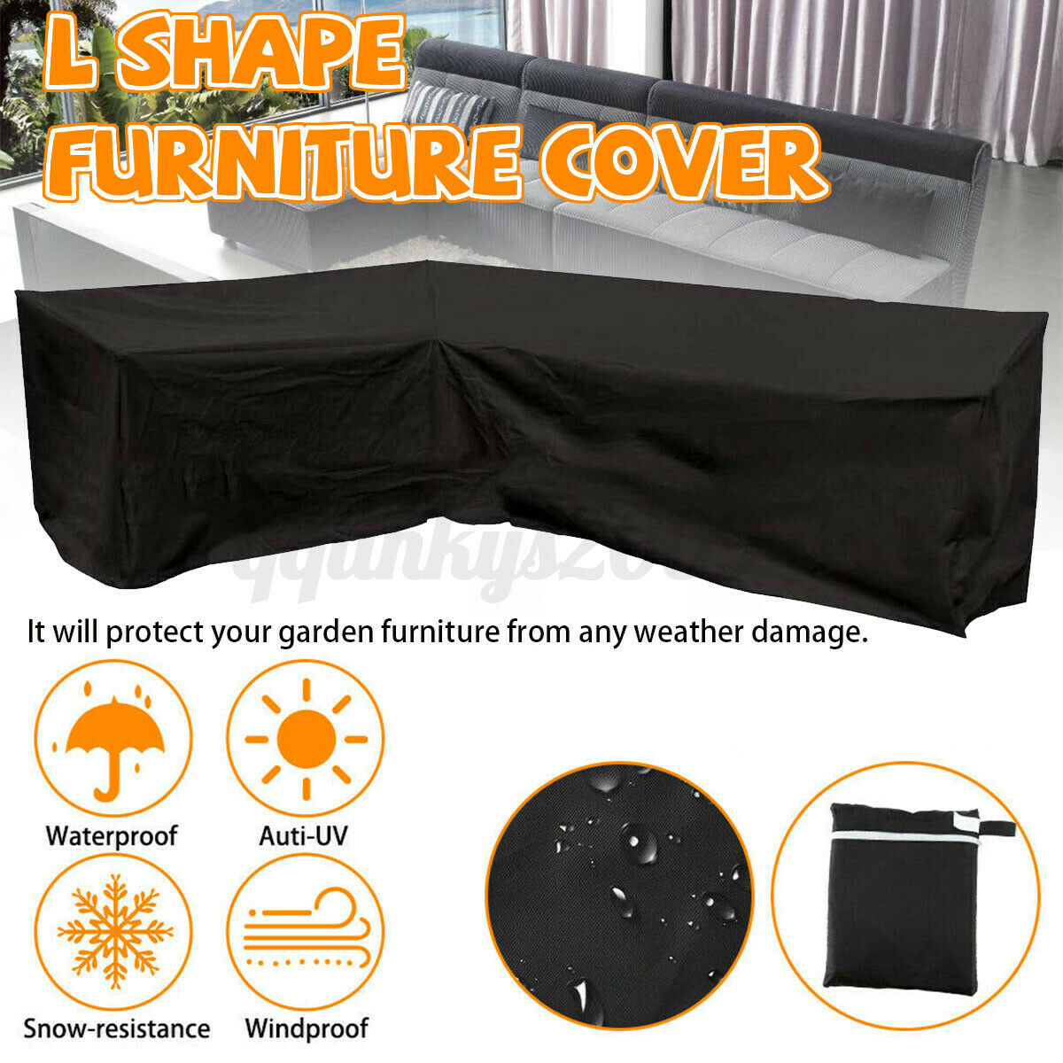 Garden Furniture - Outdoor L Shape Furniture Cover Waterproof Sofa Lounge Seat Couch Cover Garden