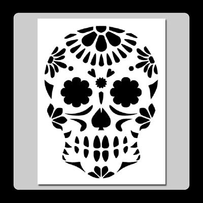 7 X 9 Floral Sugar Skull Face STENCIL Day of the Dead/Mexican Halloween/Death](Death Face Halloween)
