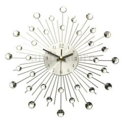 Silver Modern Metal Wall Clock Clear Diamante Crystal Large Home Office Decor US