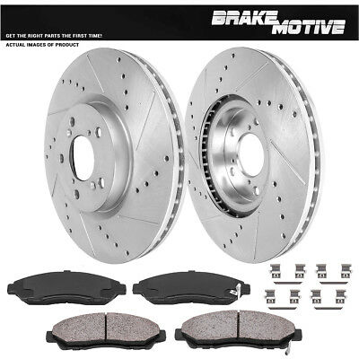 Front Drill And Slot Brake Rotors & Ceramic Pads For Acura ZDX MDX Honda Pilot