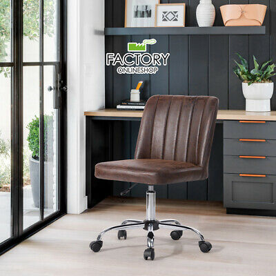 PU / Fabric Mid Back Office Task Chair Swivel Rolling Computer Desk Armless Seat