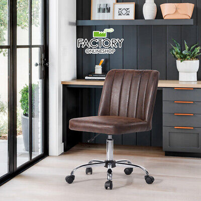 Pu Fabric Mid Back Office Task Chair Swivel Rolling Computer Desk Armless Seat