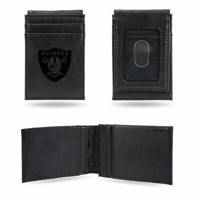 Oakland Raiders NFL Laser Engraved Black Front Pocket Wallet / Money Clip - Engraved Nfl Money Clip