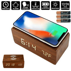 Modern Wooden Wood Digital LED Desk Alarm Thermometer Qi Wireless Charger