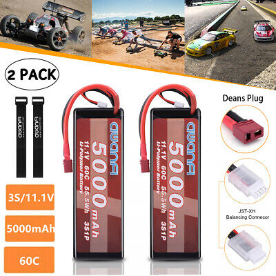 2Pcs 11.1V 5000mAh 3S 60C Lipo Battery Deans Plug for RC Car Helicopter Airplane
