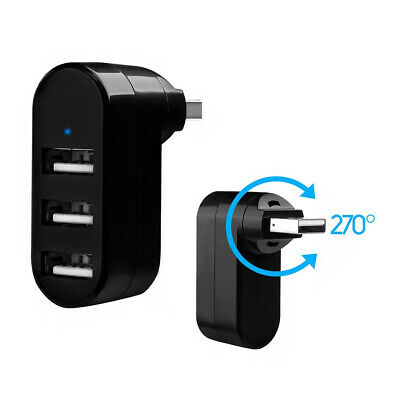 Mini 3-Port USB Hub Winkel Stecker 3x Adapter Verteiler Splitter drehbar passiv