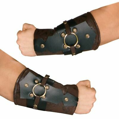 Roman Solider Arm Guards Br/Blk Poly Faux Suede & Vinyl Laced Costume Arm Cuffs](Roman Solider Costume)