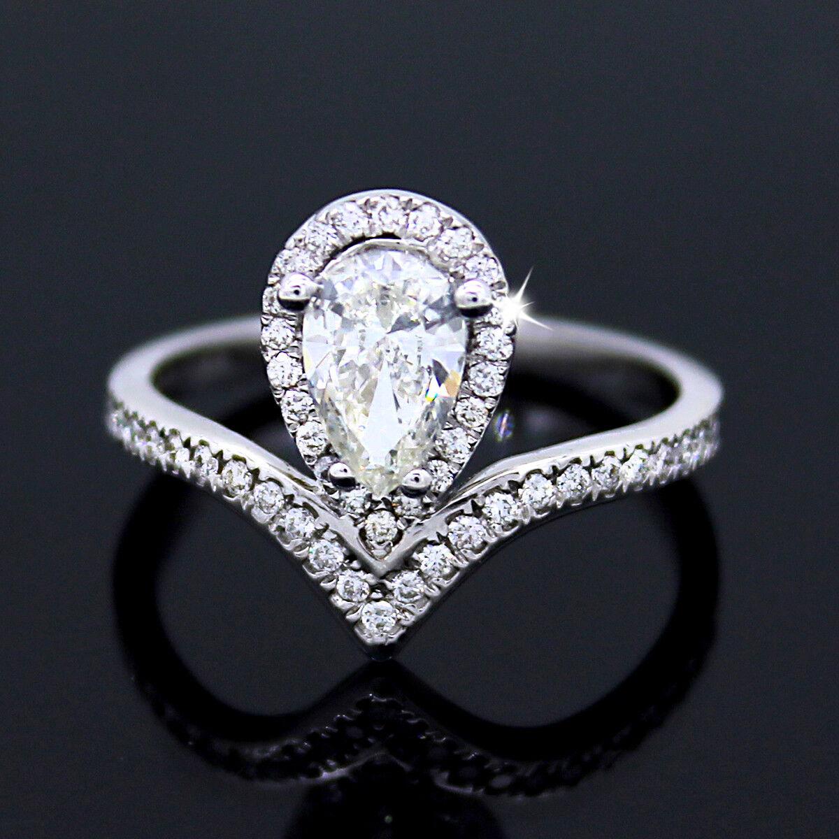 Pear Cut Diamond Modern Engagement Ring GIA Certified 14kt White Gold VS2 H-I
