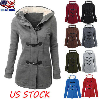 Womens Trench Parka Hooded Coat Jacket Outwear Winter Warm Long Overcoat Hoodie