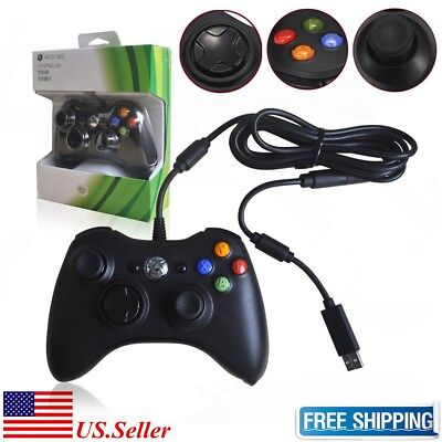 New Wired USB Game Pad Controller For Microsoft Xbox 360 Black Free Shipping ()
