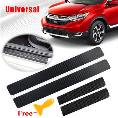 4pc 4D Carbon Fiber Car Door Sill Scuff Welcome Pedal Protector Stickers + Tool