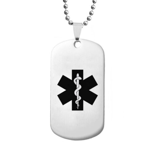 Free Engraving Medical Alert Personalized Necklace Pendant Emergency ID Dog Tag