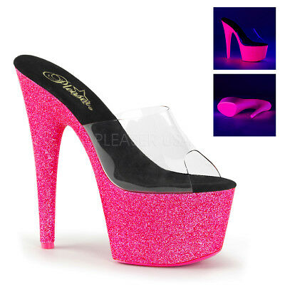 Pleaser ADORE-701UVG Women's Clear Neon Pink Glitter Heel Platform Pumps - Clear Platform Pumps