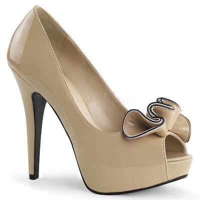 Hidden Platform Open Toe Pumps (Pin Up Couture LOLITA-10 Women's Cream High Heel Hidden Platform Open Toe Pumps)
