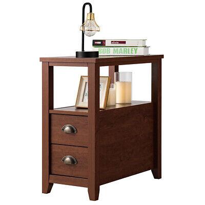 End Table w/ 2 Drawer & Shelf Narrow Chair Side Nightstand Rustic Brown 1 Side Shelf
