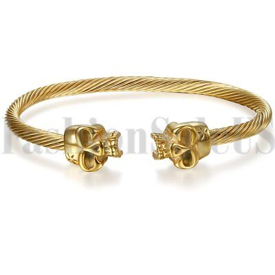 Mens Womens Gold Tone Skull Stainless Steel Twisted Cable Bangle Bracelet Cuff