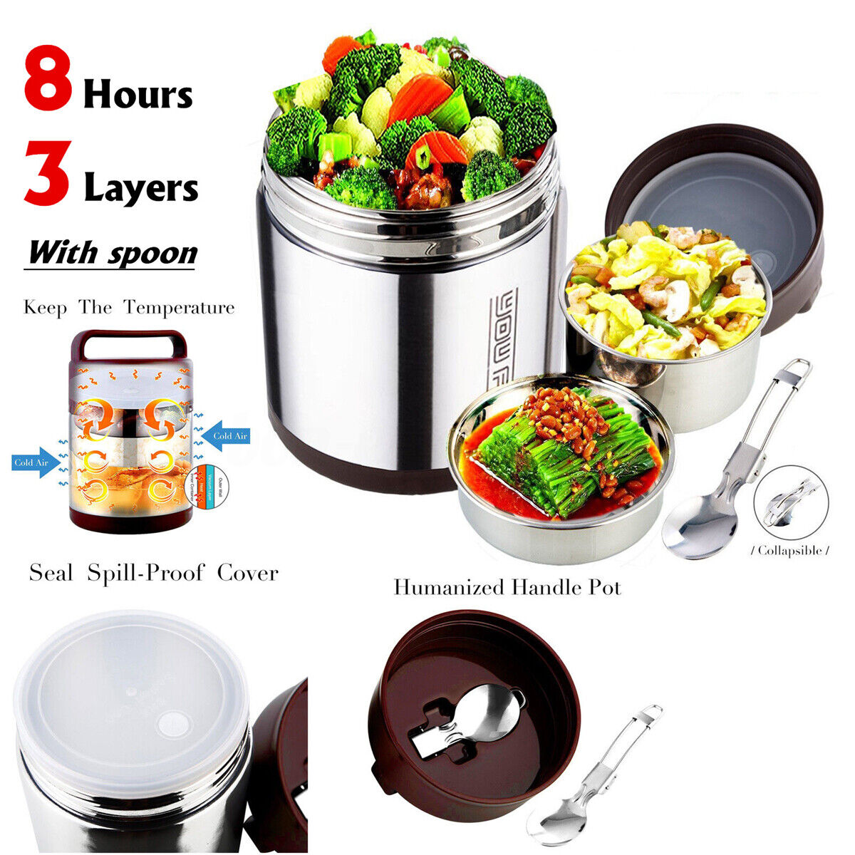 stainless steel vacuum insulated lunch box jar