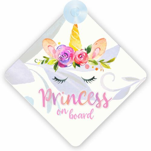 Unicorn Princess On Board Safety Car Window Sign (002) Little Girl Gift/Present