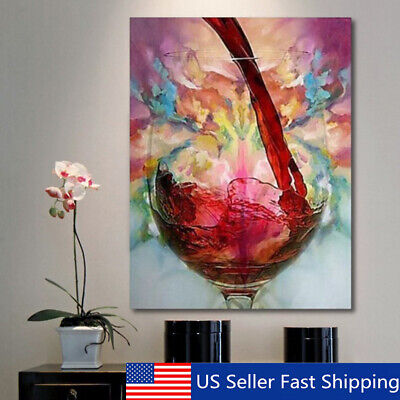 Abstract Red Wine Glass Oil Painting Canvas Wall Art Printed Pictures Home  B