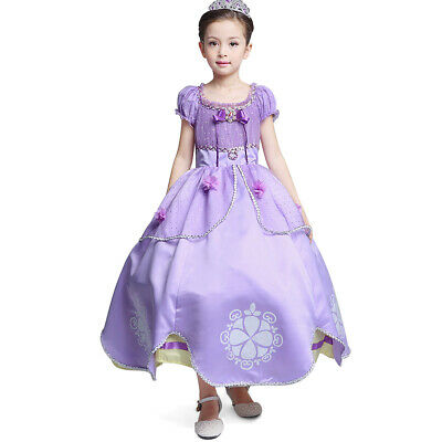 Little Girls Princess Sofia Costume Dress up Cosplay Fancy Party Dresses