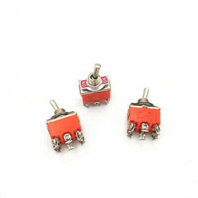 10pcs Latching Toggle Switch 1321 6-pin 2 Position On-on Dpdt 15a 250vac