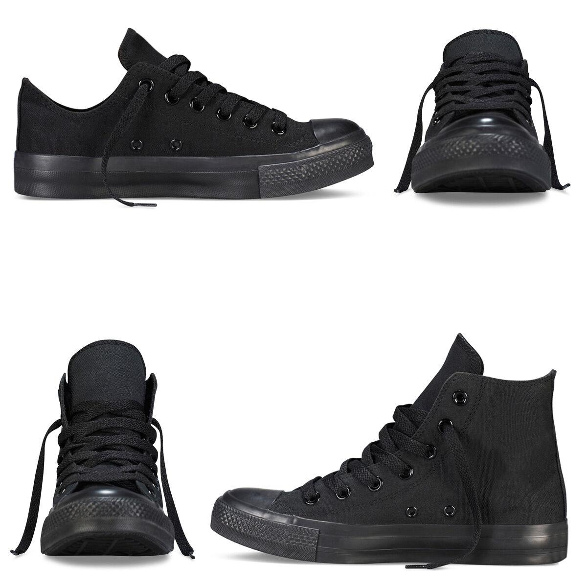 Scarpe Da Ginnastica Total Black Uomo Donna Sneakers Alte Basse Casual Nere