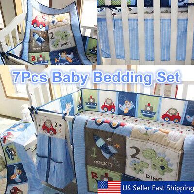 7pcs blue baby boy bedding crib cot