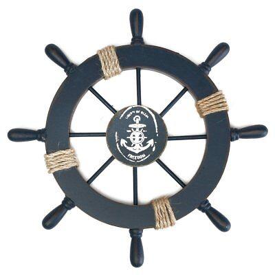 Room Wooden Nautical Beach Boat Ship Steering Wheel Fishing Net Shell Wall Decor