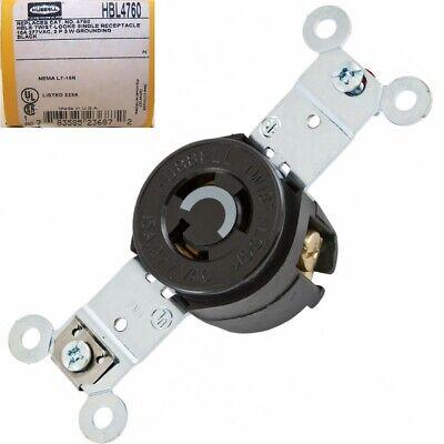 New Hubbell Hbl4760 Twist Lock 15a 277 Vac 2 Pole 3 Wire Receptacle